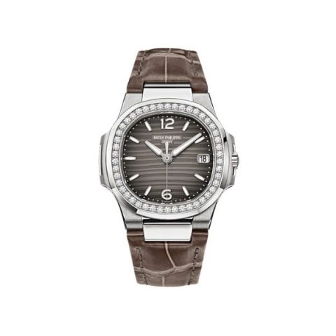 PATEK PHILIPPE NAUTILUS 7010G-012 WHITE GOLD DIAMOND BEZEL GREY DIAL LADIES WATCH