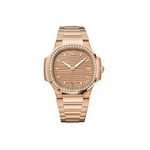 PATEK PHILIPPE NAUTILUS ROSE GOLD GOLDEN BROWN OPALINE DIAL LADIES WATCH 7118/1200R-010