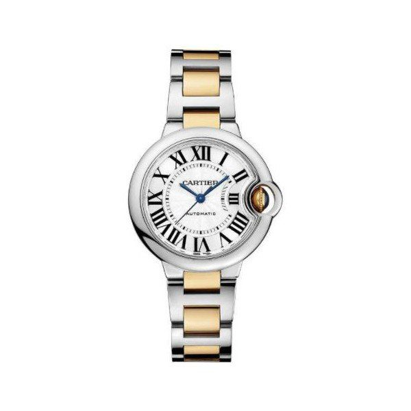 CARTIER BALLON BLEU STAINLESS STEEL & YELLOW GOLD 33MM LADIES WATCH