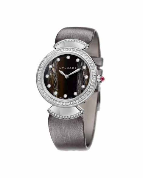 Bvlgari Pre Owned Diva 18kt White Gold 30mm Brown Dial Ladies Watch