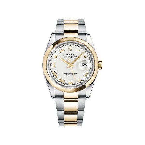 ROLEX DATEJUST 18KT YELLOW GOLD 36MM WHITE DIAL MEN'S WATCH