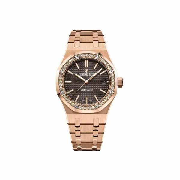 AUDEMARS PIGUET ROYAL OAK 18KT ROSE GOLD 37MM BROWN DIAL LADIES WATCH
