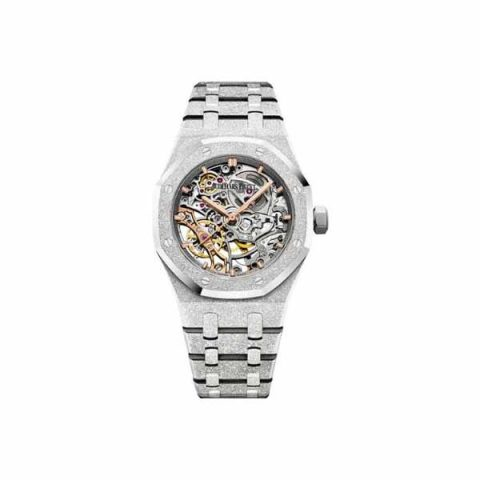 AUDEMARS PIGUET ROYAL OAK DOUBLE BALANCE WHEEL OPENWORKED FROSTED 18KT WHITE GOLD 37MM MEN'S WATCH
