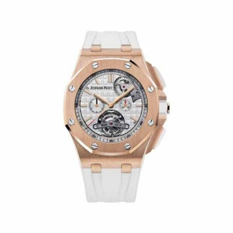 AUDEMARS PIGUET ROYAL OAK OFFSHORE TOURBILLON 18KT ROSE GOLD 44MM SILVER DIAL MEN'S WATCH