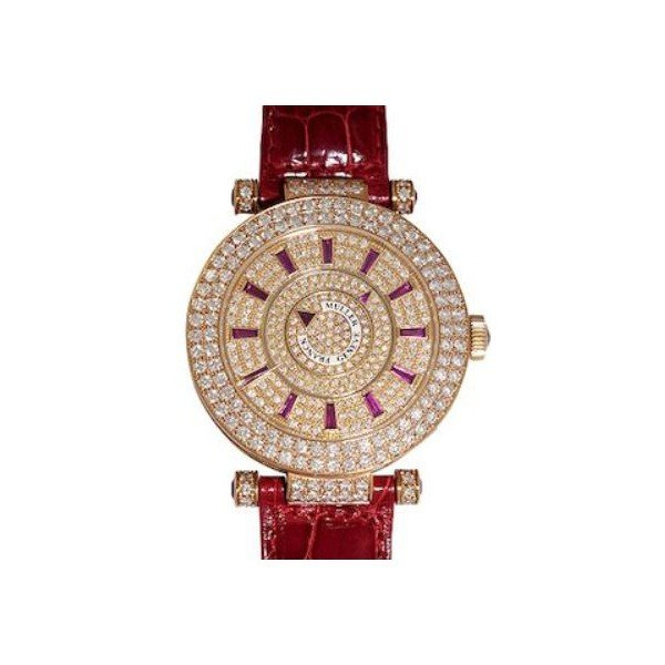 FRANCK MULLER RONDO DOUBLE MYSTERY PG DIAMOND & RUBY CHARACTERS EDITION 18KT ROSE GOLD 42MM LADIES WATCH