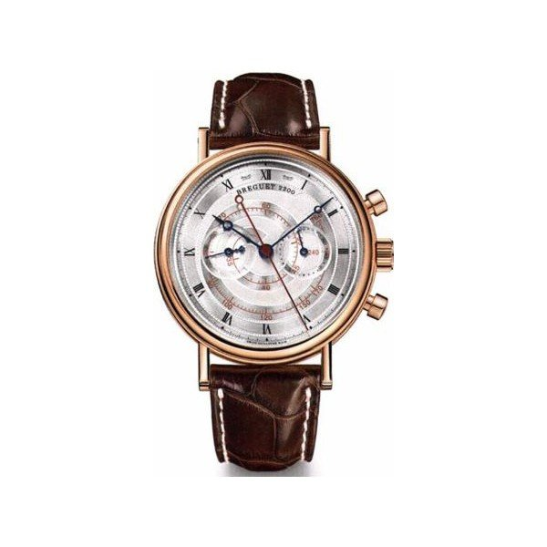 BREGUET CLASSIQUE CHRONOGRAPH SILVERED GOLD DIAL 18KT ROSE GOLD 39MM MEN'S WATCH