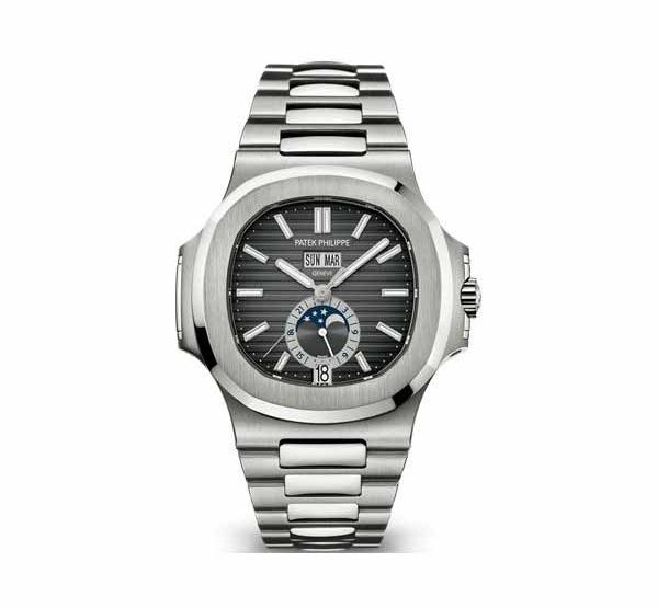 PATEK PHILIPPE NAUTILUS ANNUAL CALENDAR MOON PHASE STAINLESS STEEL Ref. 5726/1A-001
