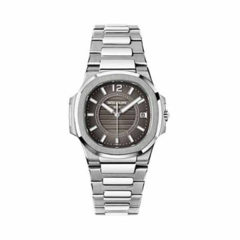 PATEK PHILIPPE NAUTILUS 18KT WHITE GOLD 32MM GREY DIAL LADIES WATCH