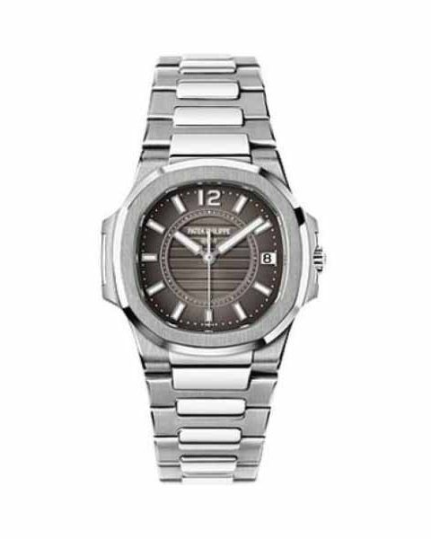 Patek Philippe Pre-Owned Nautilus 18kt White Gold Grey Dial Ladies Watch