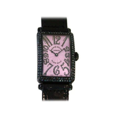 FRANCK MULLER LONG ISLAND BLACK MAGIC PINK DIAMOND DIAL 40MM X 22MM LADIES WATCH