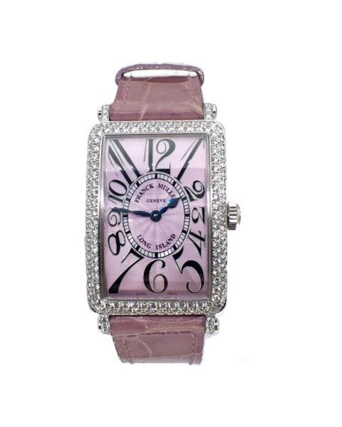FRANCK MULLER LONG ISLAND PINK DIAL 18KT WHITE GOLD WITH DIAMONDS 26MM X 37MM LADIES WATCH