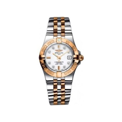 BREITLING GALACTIC STAINLESS STEEL & 18KT ROSE GOLD 30MM LADIES WATCH