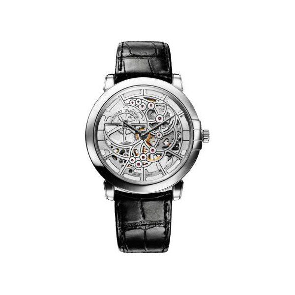 HARRY WINSTON MIDNIGHT SKELETON 18KT WHITE GOLD 42MM MEN'S WATCH