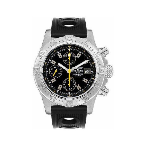 BREITLING AVENGER CODE YELLOW BLACK DIAL CHRONO STAINLESS STEEL 45.40MM MEN'S WATCH