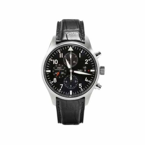 IWC PILOT CHRONOGRAPH AUTOMATIC BLACK DIAL STAINLESS STEEL 43MM MEN'S WATCH