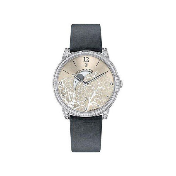 HARRY WINSTON MIDNIGHT MOON PHASE 18KT WHITE GOLD 39MM LADIES WATCH