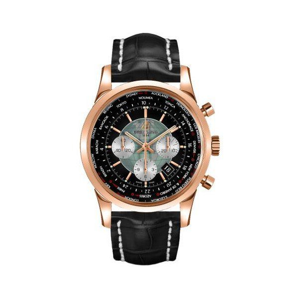 Breitling Pre-owned Transocean Chronograph Unitime 18kt Rose Gold 46mm Men's Watch