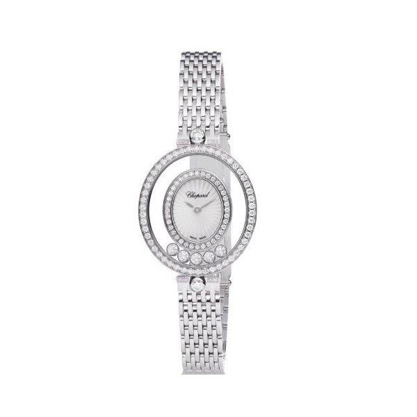 CHOPARD HAPPY DIAMOND 18KT WHITE GOLD OVAL SHAPE LADIES WATCH