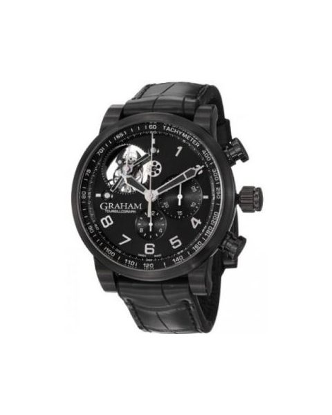 GRAHAM SILVERSTONE TOURBILLOGRAPH BLACK PVD COATED 48MM MEN'S WATCH