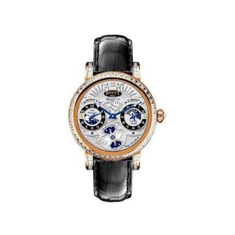 BOVET DIMIER RECITAL 17 MOON PHASE 18KT ROSE GOLD WITH BAGUETTE & LUGS ON BEZEL 46MM MEN'S WATCH
