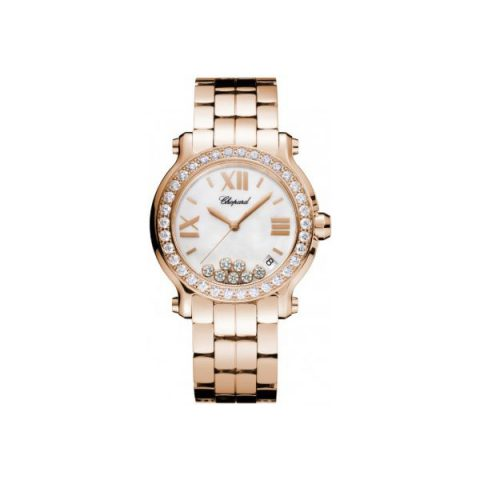 CHOPARD HAPPY SPORT MEDIUM 18KT ROSE GOLD 36MM LADIES WATCH