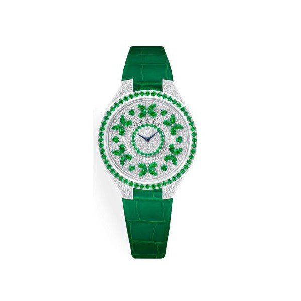GRAFF DISCO BUTTERFLY EMERALD 18KT WHITE GOLD 38MM LADIES WATCH