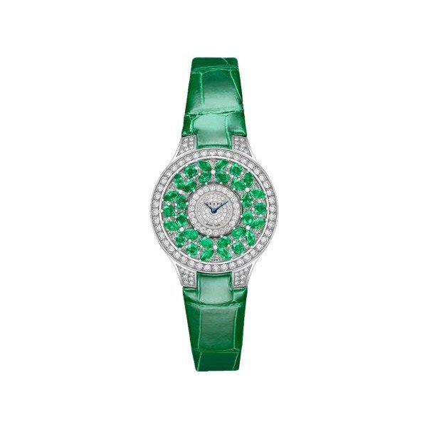 GRAFF BUTTERFLY EMERALD 18KT WHITE GOLD 32MM LADIES WATCH