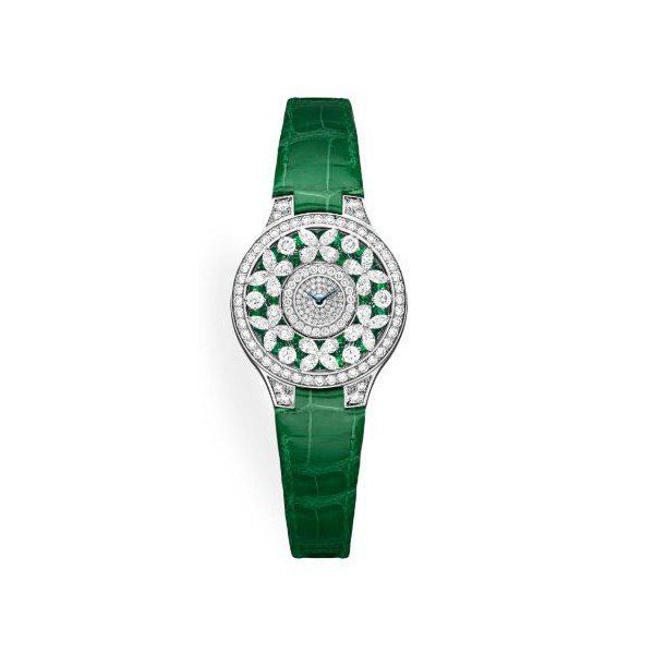 GRAFF CLASSIC BUTTERFLY EMERALD 18KT WHITE GOLD 32MM LADIES WATCH