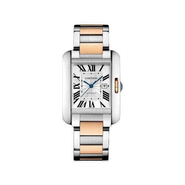 CARTIER TANK ANGLAISE MEDIUM STAINLESS STEEL & ROSE GOLD 39.2MM X 29.8MM LADIES WATCH
