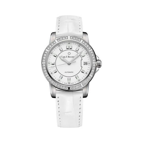 CARL F. BUCHERER PATRAVI AUTODATE 34MM STAINLESS STEEL LADIES WATCH