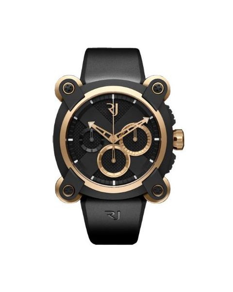 ROMAIN JEROME MOON INVADER RED METAL CHRONOGRAPH 46MM BLACK PVD COATED STEEL & 18KT ROSE GOLD MEN'S WATCH