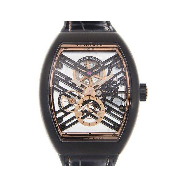 FRANCK MULLER VANGUARD SKELETON 44MM X 53.7MM BLACK CERAMIC MEN'S WATCH