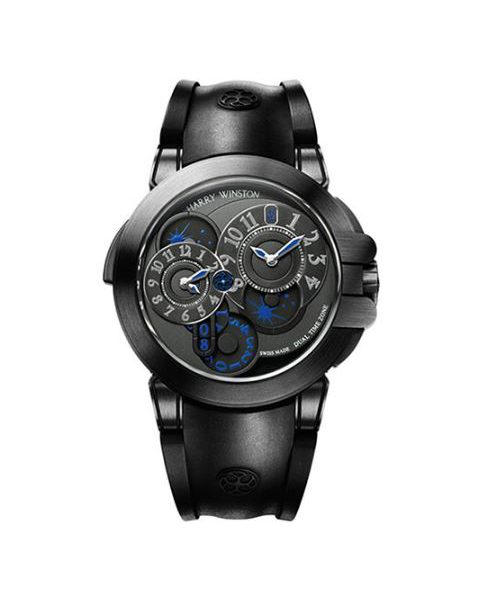 Harry Winston Pre-owned Ocean Dual Time Black Edition Men's Watch