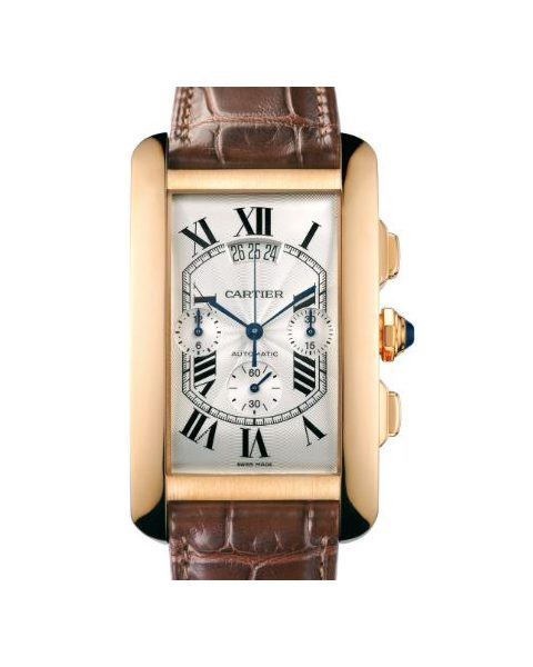 Cartier Pre-owned Tank Americaine 18kt Rose Gold Men's Watch
