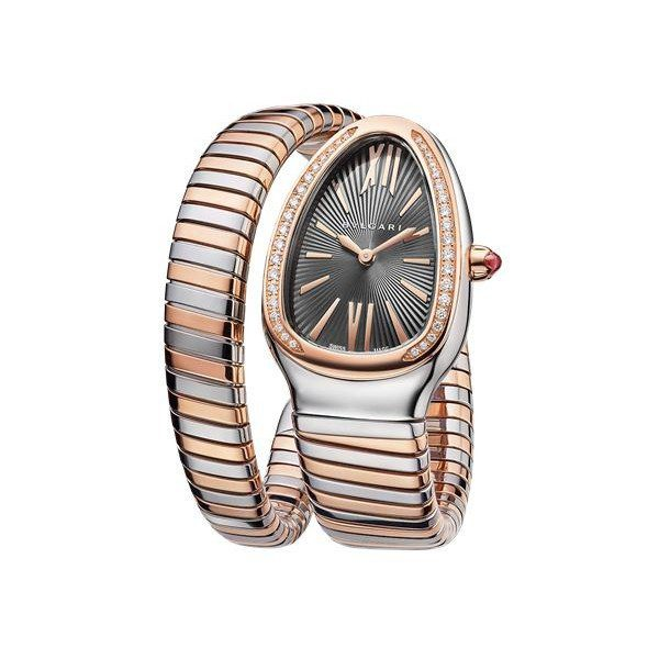 BVLGARI SERPENTI TUBOGAS 35MM 18KT ROSE GOLD/STAINLESS STEEL LADIES WATCH