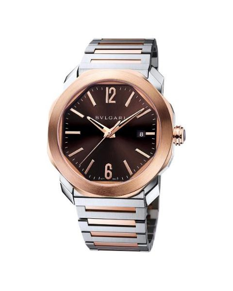 Bvlgari Pre-owned Octo Roma 41mm Stainless Steel & 18kt Rose Gold Men's Watch