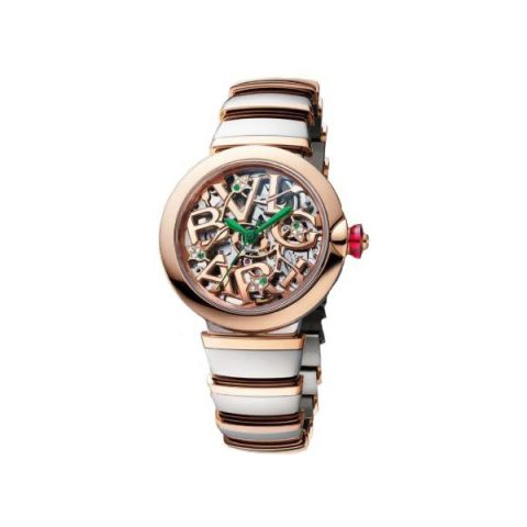 BVLGARI LVCEA SKELETON 33MM STAINLESS STEEL/18KT ROSE GOLD LADIES WATCH