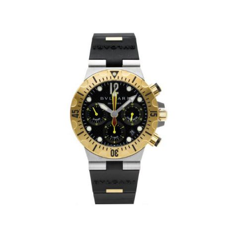 BVLGARI SC 40 SG TWO TONE DIAGONO PROFESSIONAL DIVER'S CHRONOGRAPH 40MM 18KT YELLOW GOLD MEN'S WATCH