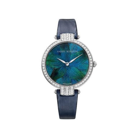 HARRY WINSTON PREMIER FEATHERS 36MM 18KT WHITE GOLD LADIES WATCH