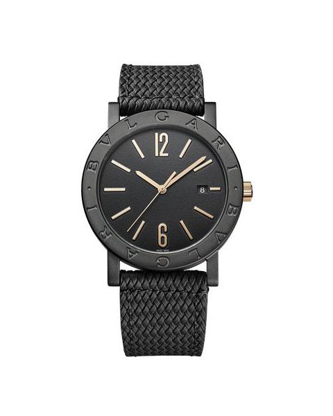 BVLGARI SOLOTEMPO 41MM STAINLESS STEEL TREATED WITH BLACK DIAMOND LIKE CARBON MEN'S WATCH REF. 102929 BB41BBSLD/MB