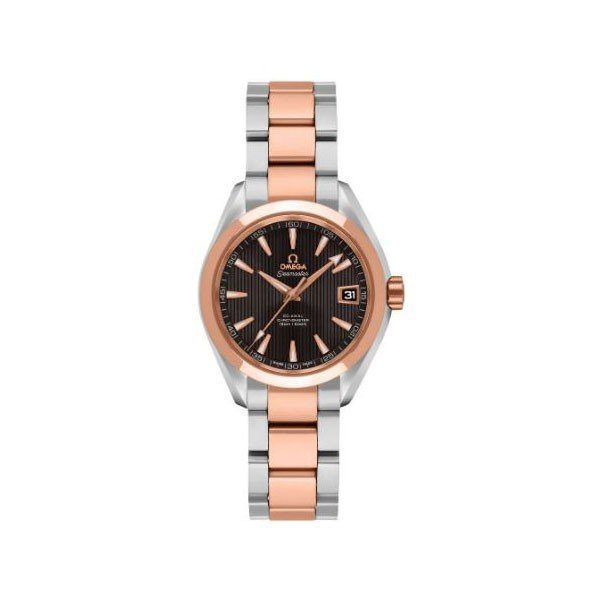OMEGA AQUA TERRA 30MM STAINLESS STEEL & 18KT ROSE GOLD LADIES WATCH