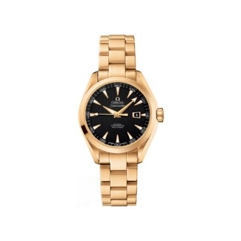 OMEGA SEAMASTER AQUA TERRA 34MM 18KT YELLOW GOLD LADIES WATCH