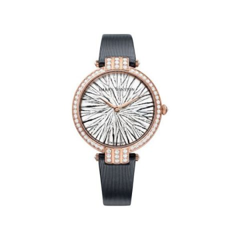 HARRY WINSTON PREMIER FEATHERS 36MM 18KT ROSE GOLD LADIES WATCH