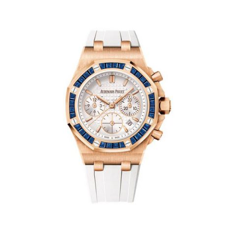 AUDEMARS PIGUET ROYAL OAK OFFSHORE CHRONOGRAPH LIMITED EDITION 37MM 18KT ROSE GOLD AND SAPPHIRES LADIES WATCH
