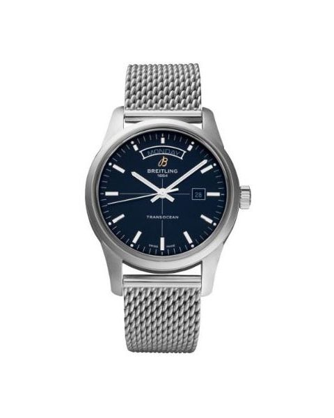 BREITLING TRANSOCEAN DAY DATE CHRONOMETRE 43MM STAINLESS STEEL MEN'S WATCH