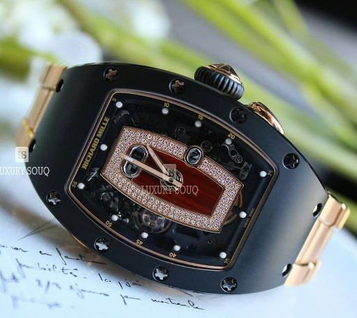 RICHARD MILLE 45.66MM X 31.4MM BLACK CERAMIC AND 18KT ROSE GOLD LADIES WATCH
