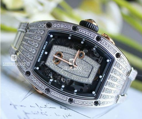 RICHARD MILLE 45.66MM X 31.4MM 18KT WHITE GOLD DIAMOND SET LADIES WATCH