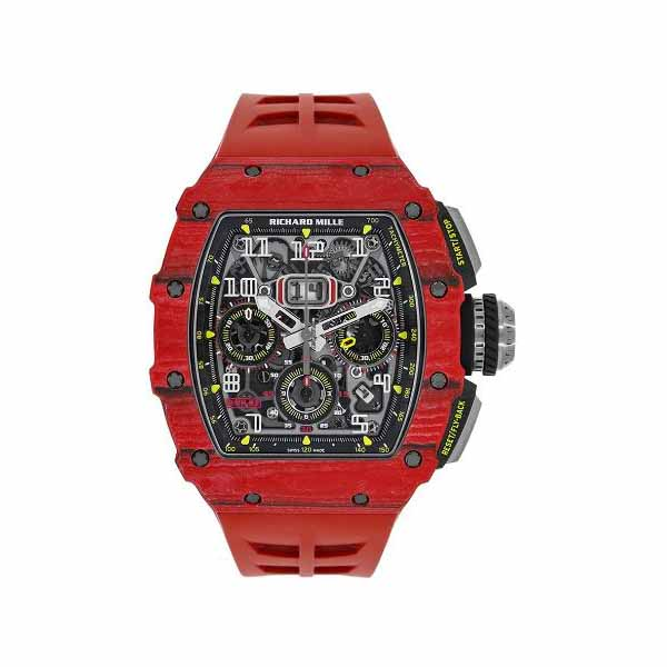 RICHARD MILLE RED QUARTZ FLYBACK CHRONOGRAPH TPT CARBON 44.50MM X 49.94MM MEN'S WATCH