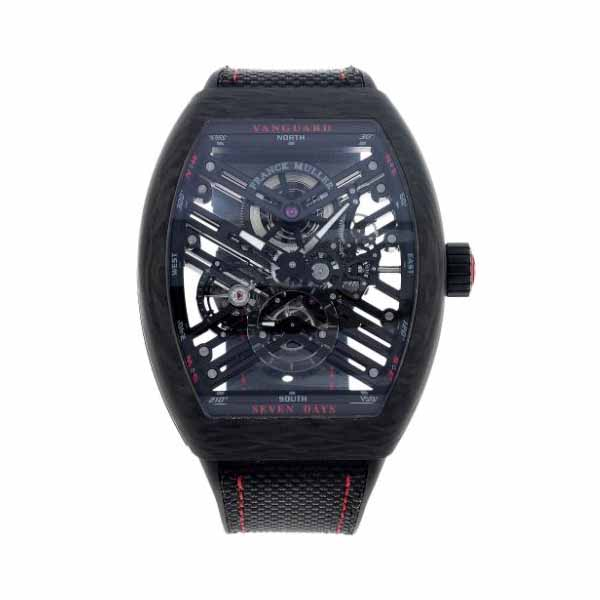 FRANCK MULLER VANGUARD 44MM SKELETON CARBON & RED MEN'S WATCH