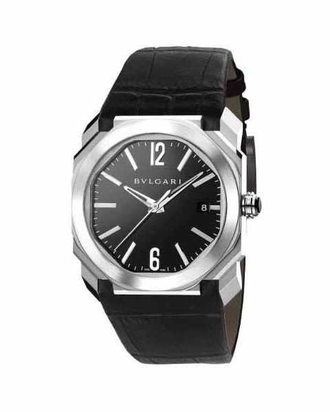 Bvlgari Octo Solotempo Black Lacquered Polished 38mm Stainless Steel Men's Watch